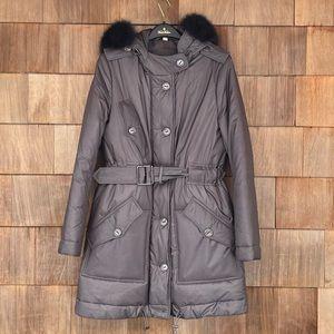 Burberry Grey Metallic Coat w/ Real Fox Fur Trim